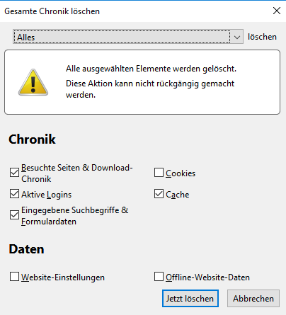 Firefox Clean Data